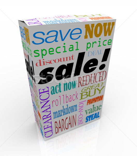 Stock photo: Sale Product Box Words Discount Save Money Package