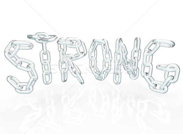 Strong Chain Link Word Letters Metal Chains Stock photo © iqoncept