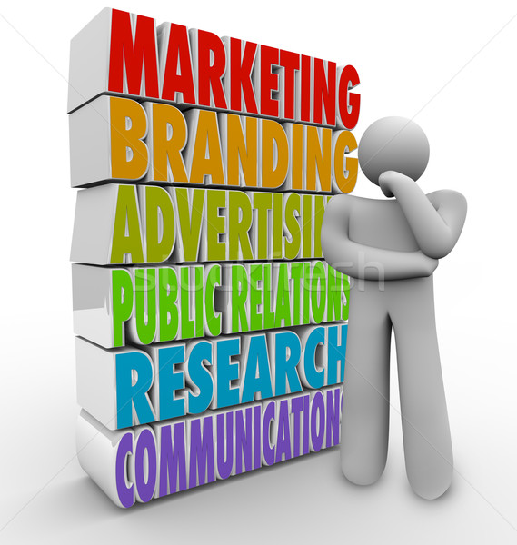 Marketing Plan Thinking Strategy Advertising Communications Stock photo © iqoncept