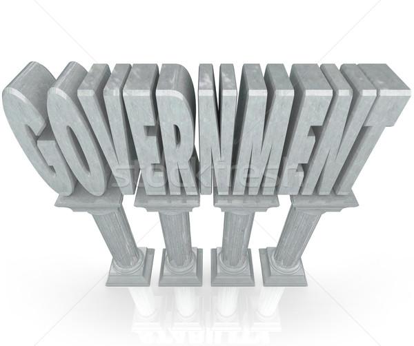 Правительство слово мрамор колонн власти сильный Сток-фото © iqoncept