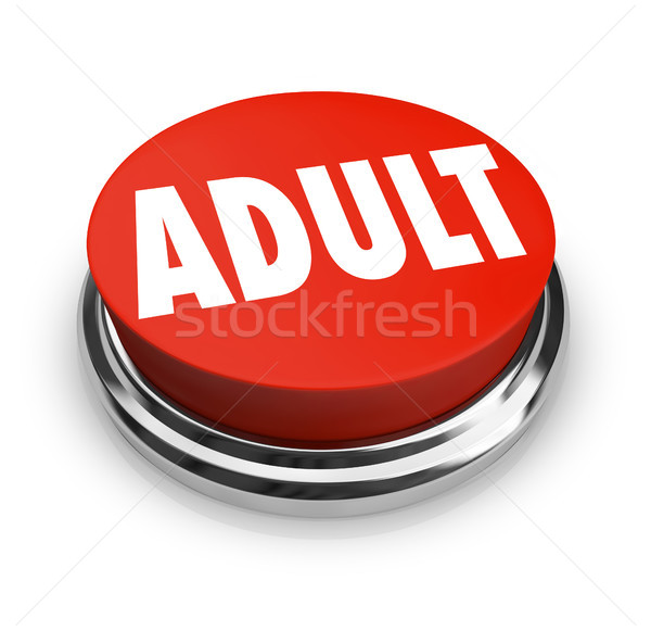 Volwassen woord Rood knop volwassen beperkt Stockfoto © iqoncept