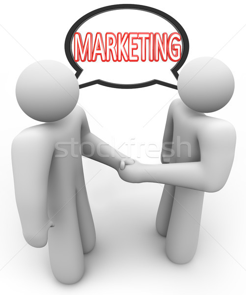 Marketing Word Handshake Speech Bubble Salespeople Stock photo © iqoncept