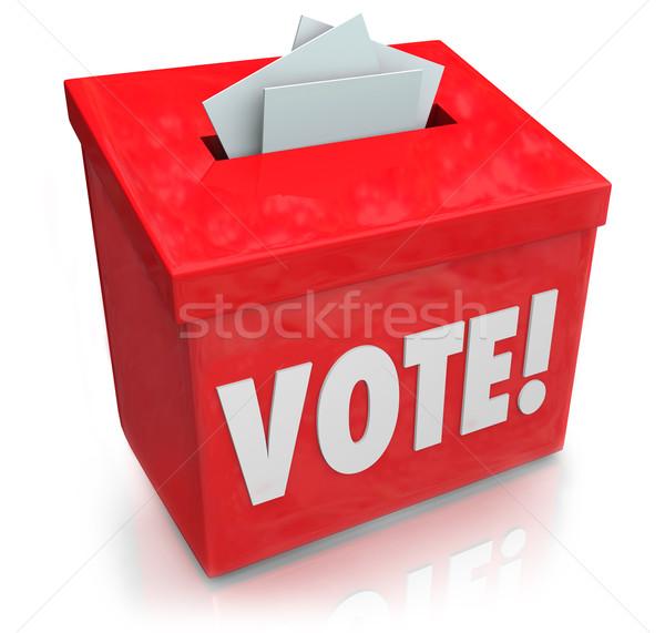 Oy kelime oylama kutu seçim demokrasi Stok fotoğraf © iqoncept