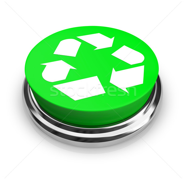 Recycle Symbol - Green Button Stock photo © iqoncept