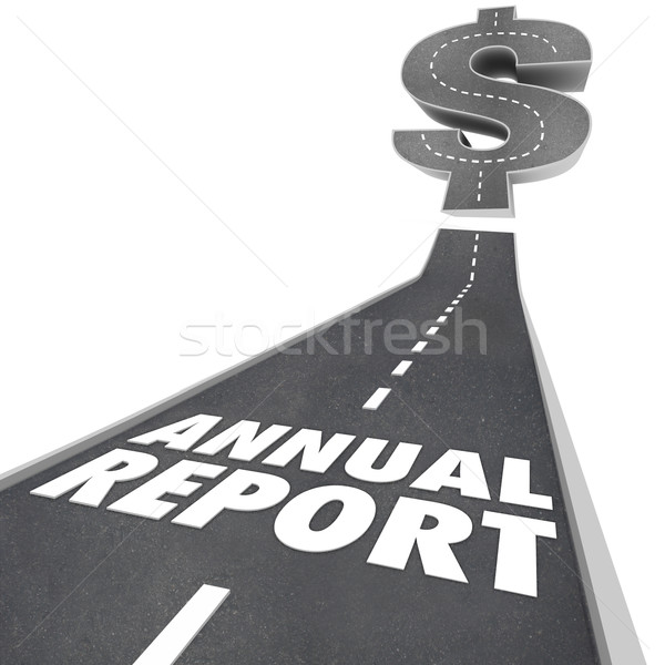 Stock photo: Annual Report Road Arrow Growing Financial Results Performance
