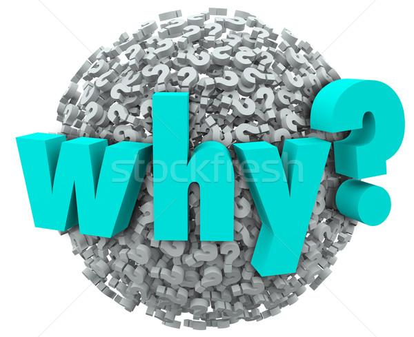 Słowo znak zapytania 3D symbolika sferze zastanawiać się Zdjęcia stock © iqoncept