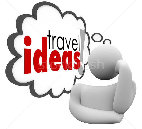 Travel Ideas Thinker Thought Cloud Brainstorming Vacation Plan Stock photo © iqoncept