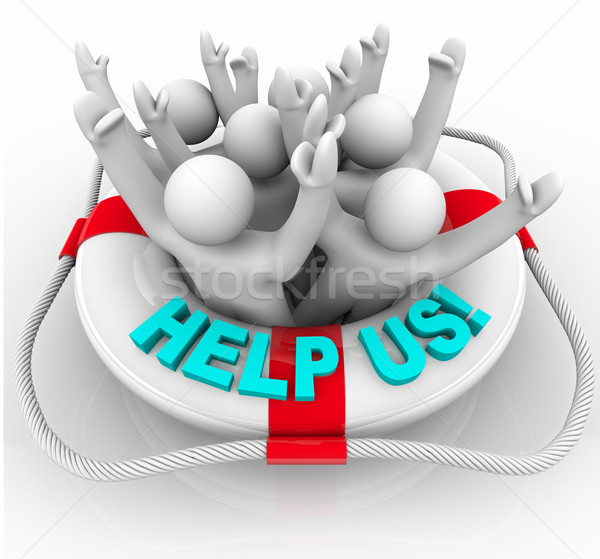 Help Us - People in Life Preserver Stock photo © iqoncept