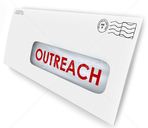 Stock photo: Outreach Word on Envelope Message Advertising Communication