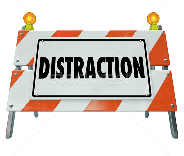 Distraction Word Barrier Barricade Distracted Driving Warning Si Stock photo © iqoncept