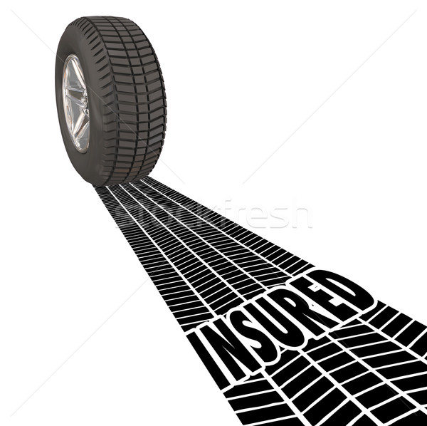 Insured Coverage Protection Wheel Tire Tracks Stock photo © iqoncept