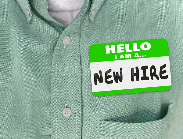 New Hire Nametag Sticker Green Shirt Rookie Employee Fresh Talen Stock photo © iqoncept