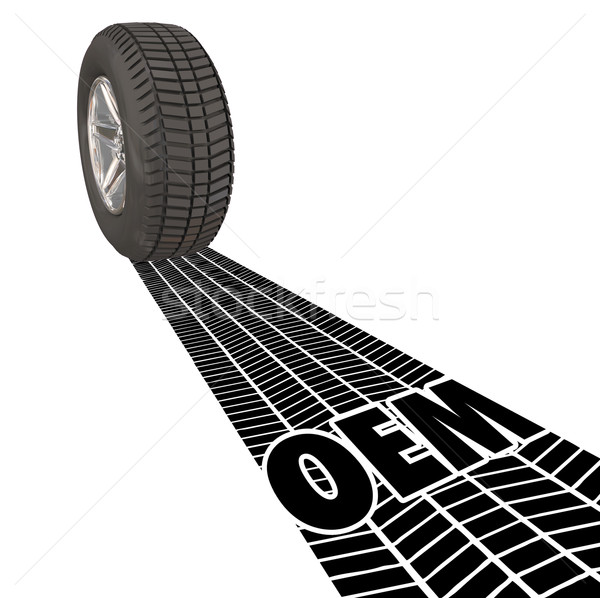 OEM Original Equipment Manufacturer Wheel Tire Treads Track Word Stock photo © iqoncept