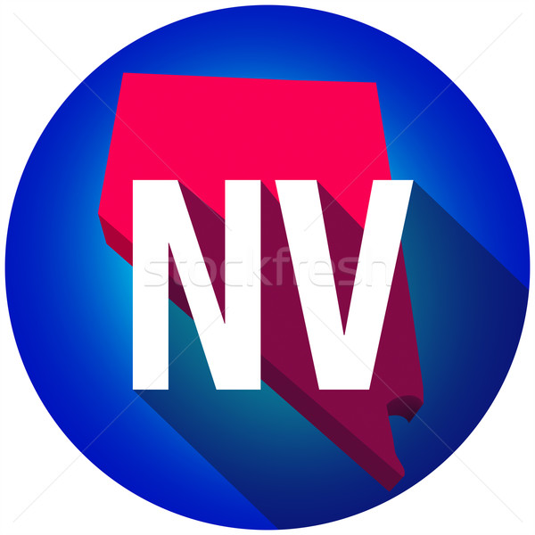 Nevada NV Letters Abbreviation Red 3d State Map Long Shadow Circ Stock photo © iqoncept