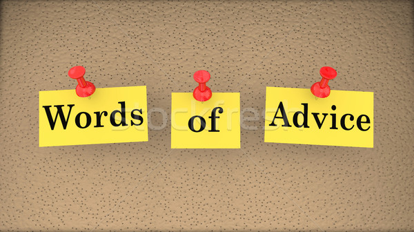 Words of Advice Help Assistance Support Bulletin Board 3d Illust Stock photo © iqoncept