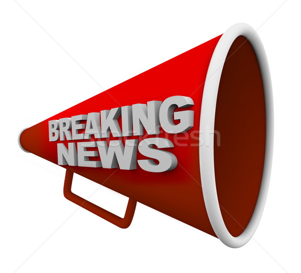 Breaking news woorden Rood mond communicatie shout Stockfoto © iqoncept