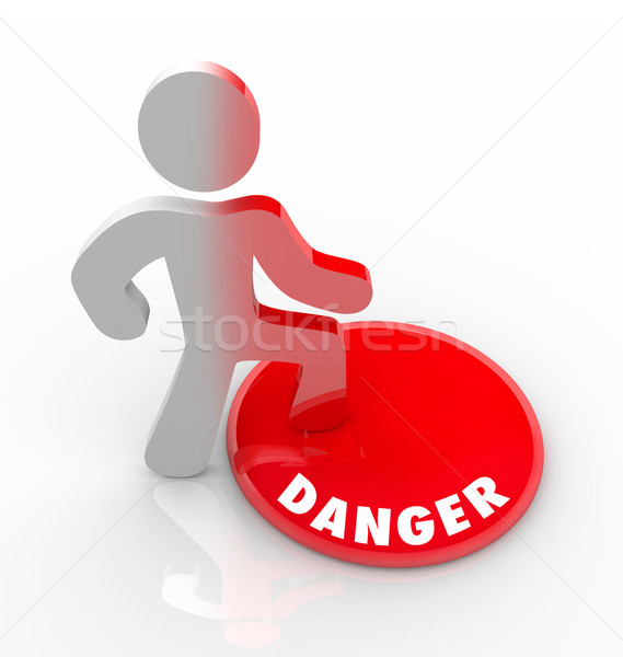 Danger Red Button Person Warned of Threats and Hazards Stock photo © iqoncept
