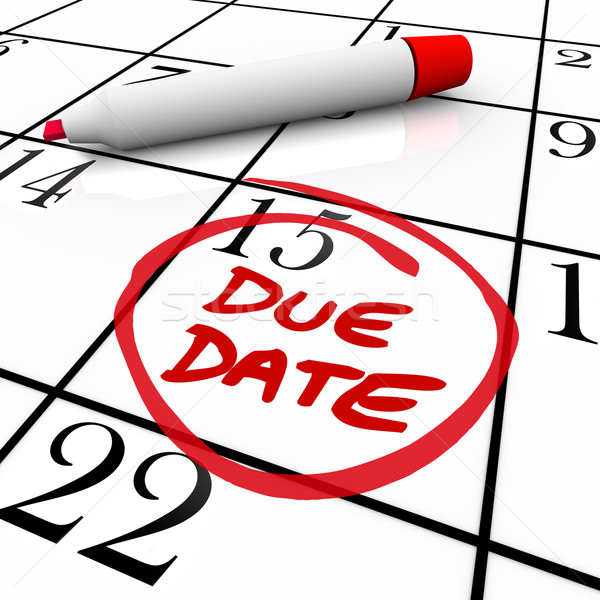 Due Date Calendar Circled for Pregnancy or Project Completion Stock photo © iqoncept