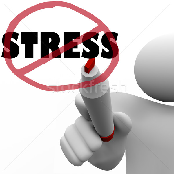 No Stress Man Draws Slash to Reduce Stressful Anxiety Stock photo © iqoncept