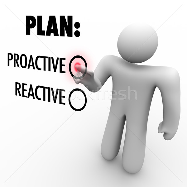 Plan Proactive or Reactive Strategy Choose to Take Charge Stock photo © iqoncept