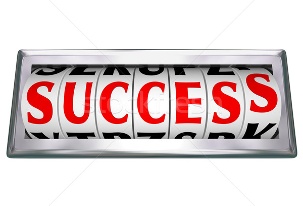 Success Word Wheels Slots Odometer Tracking Successful Goal Stock photo © iqoncept