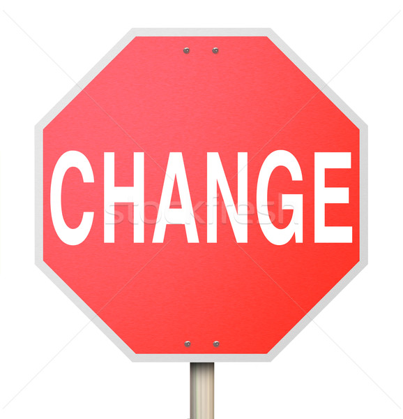 Change Word on Stop Sign - Isolated Stock photo © iqoncept