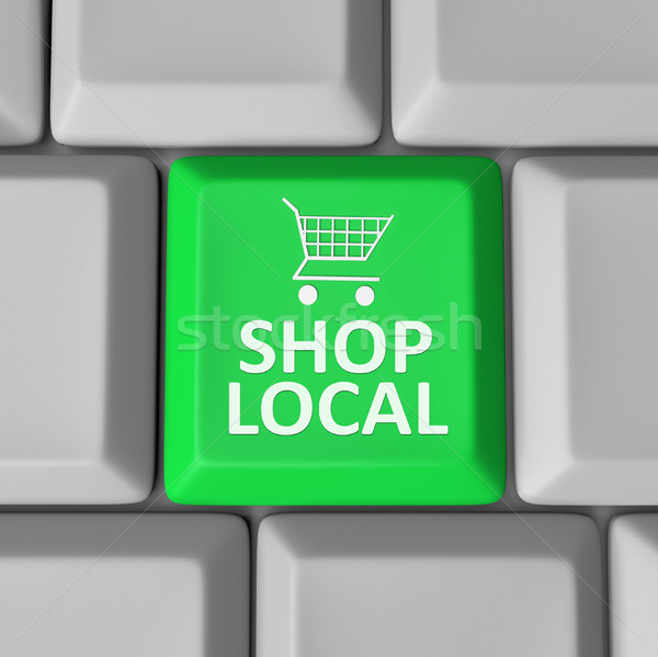 Shop Local Computer Key Shopping Cart Support Community Stock photo © iqoncept