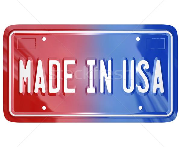 EUA licença vaidade prato carro vermelho Foto stock © iqoncept