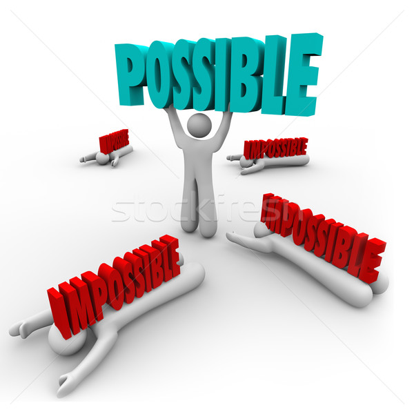 Possible Vs Impossible Man Lifts Word Winner Success Stock photo © iqoncept