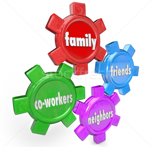 Family Friends Neighbors Co-Workers Support System Gears Stock photo © iqoncept