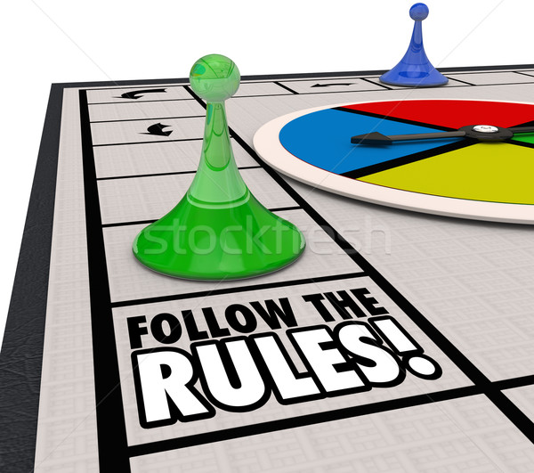 Follow the Rules Board Game Piece Win Challenge Compliance Proce Stock photo © iqoncept