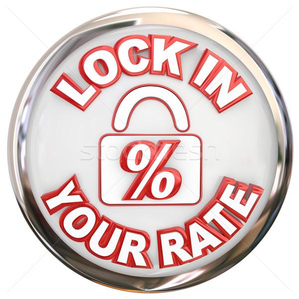 блокировка кнопки процент заем слов Сток-фото © iqoncept