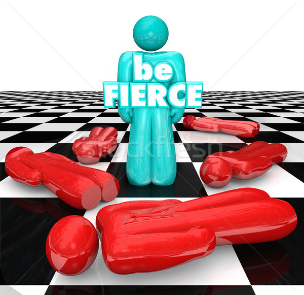 Be Fierce Chess Board Bold Daring Player Wins Game Stock photo © iqoncept