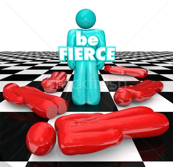 Satranç tahtası cesaret oyuncu oyun sözler Stok fotoğraf © iqoncept