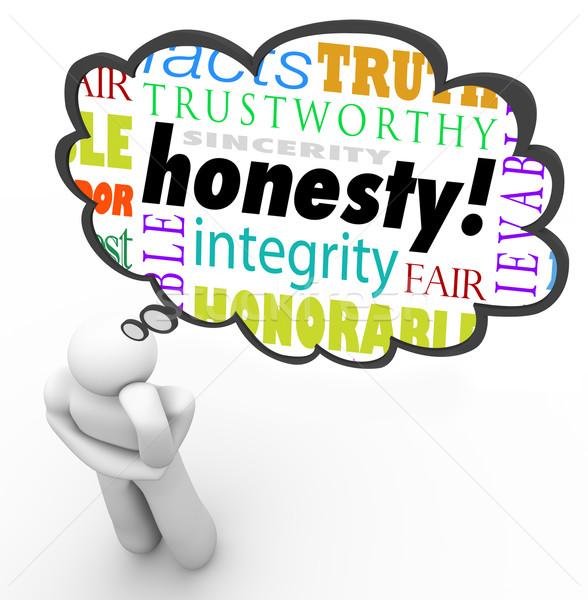 őszinteség erény szavak gondolkodó adatbázis felhő Stock fotó © iqoncept