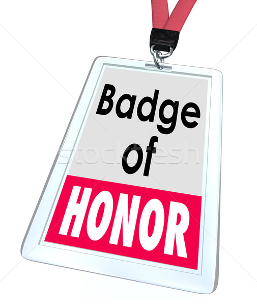 Badge honorer mots employé fierté fier Photo stock © iqoncept