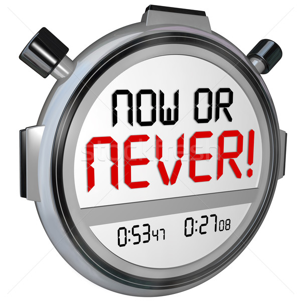 Now or Never Stopwatch Timer Opportunity Deadline Procrastinatio Stock photo © iqoncept