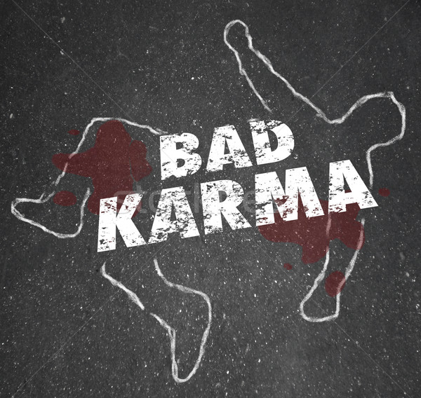 Bad Karma Chalk Outline Dead Body Violent Reaction Poor Treatmen Stock photo © iqoncept