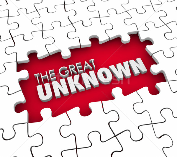 The Great Unknown Puzzle Pieces Hole Uncharted Exploration Adven Stock photo © iqoncept