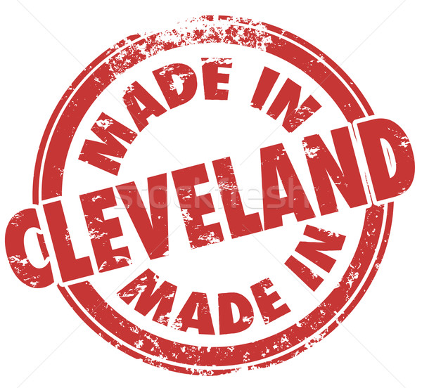 Made in Cleveland Round Stamp Words Ohio OH State City Pride Stock photo © iqoncept