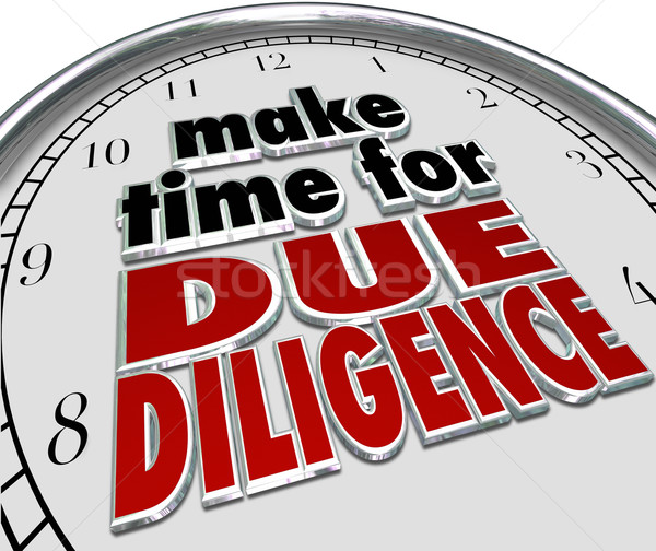Make the Time for Due Diligence 3d Words Clock Business Obligati Stock photo © iqoncept