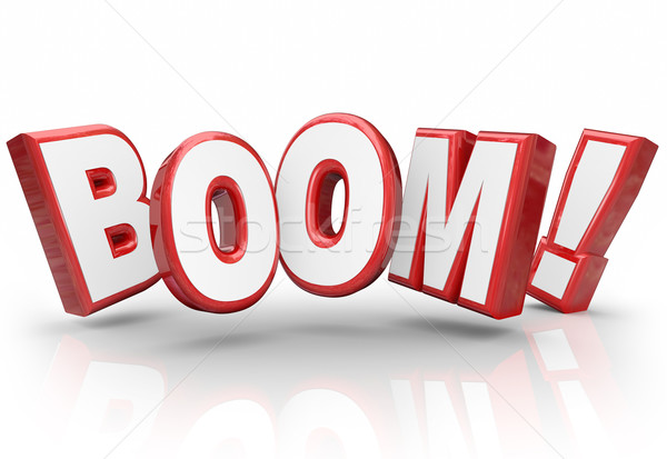 Boom 3d Word Explosive Growth Increase Sales Economy Improvement Stock photo © iqoncept