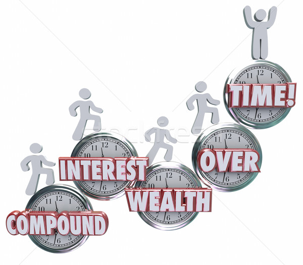 Compound Interest Wealth Over Time Clock Words People Saving Mon Stock photo © iqoncept