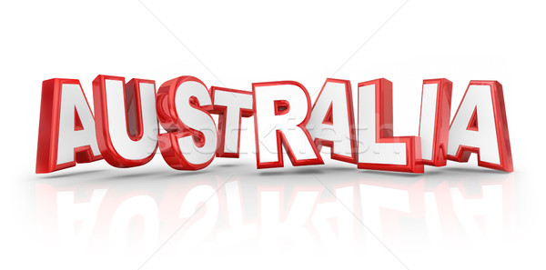 Australia Word Red 3d Letters Country Continent Down Under Stock photo © iqoncept