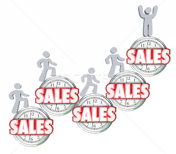 Sales Over Time Selling Products Achieving Reaching Top Quota Stock photo © iqoncept