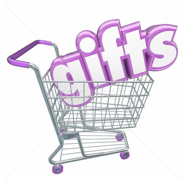 Gifts Shopping Cart 3d Word Buying Products Store Customer Stock photo © iqoncept