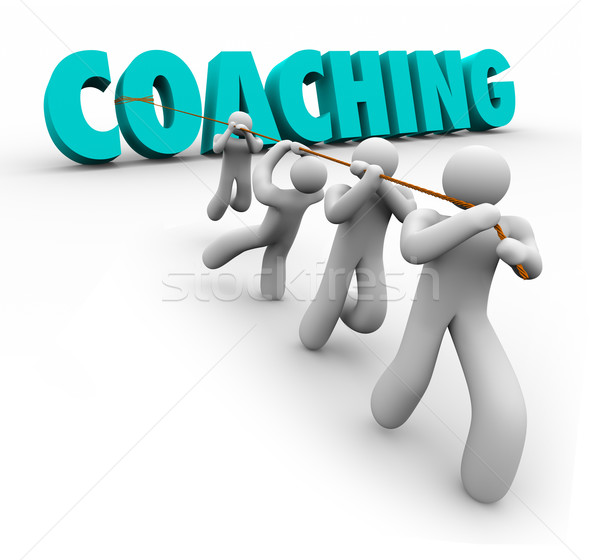 Coaching Word Pulled Team Training Exercise Leadership Stock photo © iqoncept