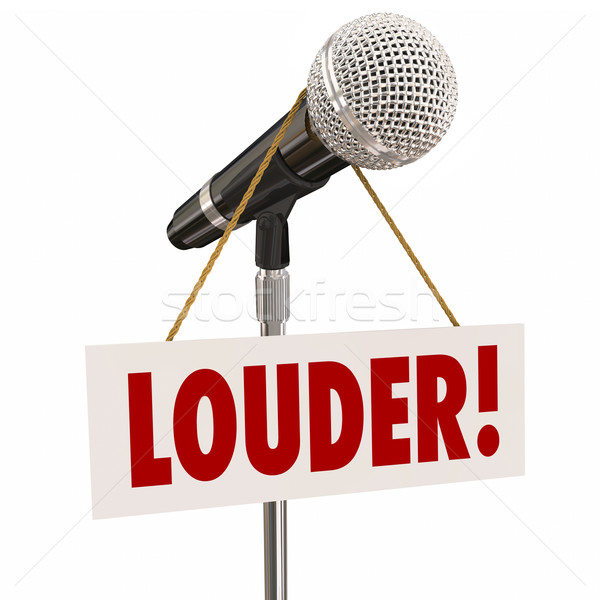 Louder Microphone Sign Increase Volume Vocal Reach Stock photo © iqoncept