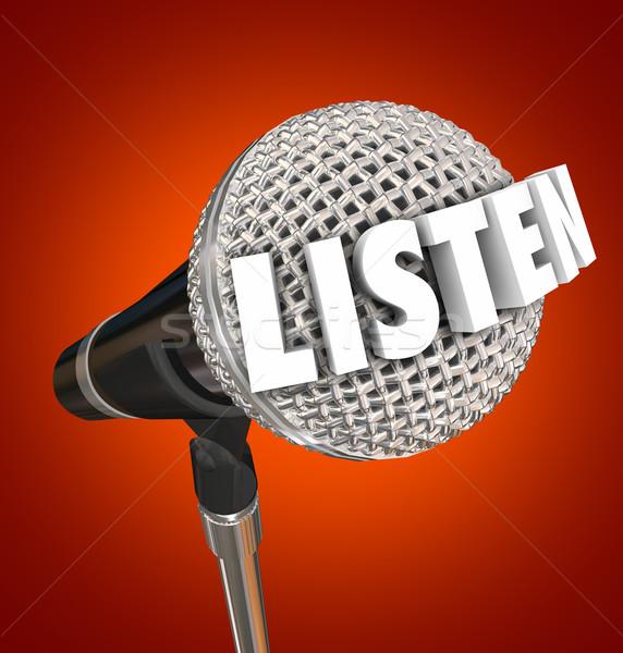Luisteren woord microfoon aankondiging fase spreker Stockfoto © iqoncept