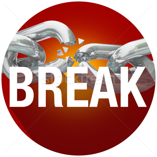 Break Chains Word Long Shadow Circle Emblem Button Stock photo © iqoncept